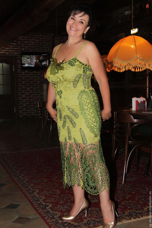 Платья ручной работы. Ярмарка Мастеров - ручная работа. Купить Платье крючком Счастье когда я рядом. Handmade. Зеленый