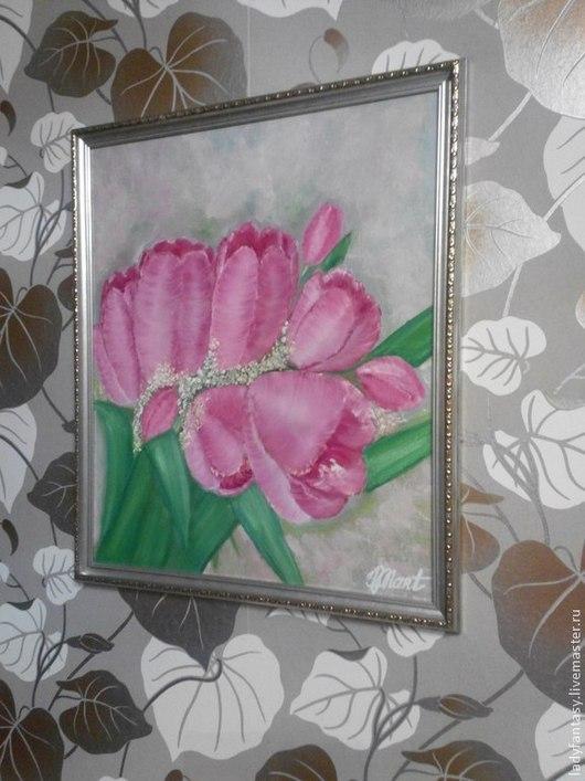 Картины цветов ручной работы. Ярмарка Мастеров - ручная работа. Купить Тюльпаны. Handmade. Розовый, картина в подарок, нежные цветы