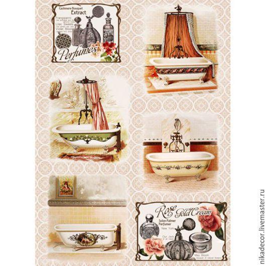 Декупаж и роспись ручной работы. Ярмарка Мастеров - ручная работа. Купить Ванные комнаты (CP00287) - рисовая бумага, А3. Handmade.