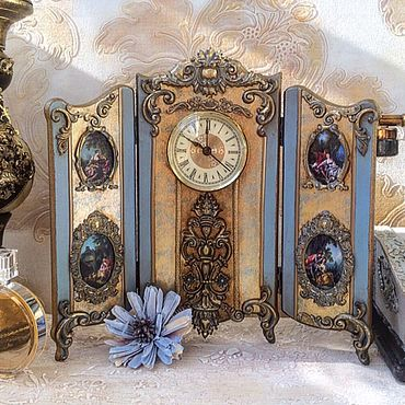 Для дома и интерьера ручной работы. Ярмарка Мастеров - ручная работа Часы - ширма настольные. Handmade.