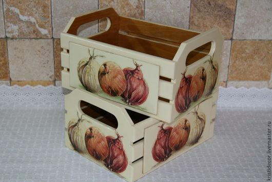 Корзины, коробы ручной работы. Ярмарка Мастеров - ручная работа. Купить Средняя корзинка для лука-чеснока. Handmade. Короб, чеснок
