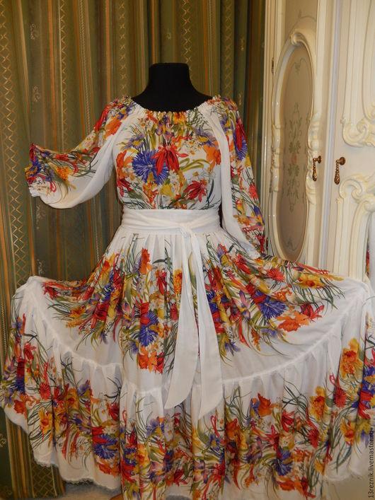 Платья ручной работы. Ярмарка Мастеров - ручная работа. Купить Хлопковое платье.Лето. Handmade. Комбинированный, Синее платье, кружево