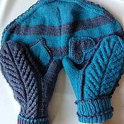 Аксессуары handmade. Livemaster - original item Mittens for lovers 2 2 1 gray turquoise. Handmade.