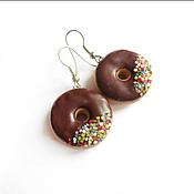 """Украшения ручной работы. Ярмарка Мастеров - ручная работа Серьги """"Шоколадные пончики"""". Handmade."""