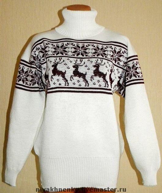 Кофты и свитера ручной работы. Ярмарка Мастеров - ручная работа. Купить Свитер женский оверсайз с оленями и норвежским орнаментом вязаный. Handmade.
