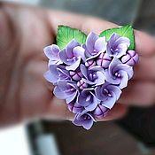 Брошь-булавка ручной работы. Ярмарка Мастеров - ручная работа Брошь цветок из полимерной глины ручной работы гортензия брошь купить. Handmade.