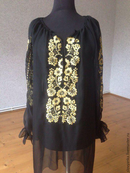 Этническая одежда ручной работы. Ярмарка Мастеров - ручная работа. Купить Вечерний наряд, туника, платье. Handmade. Черный, Вышиванка