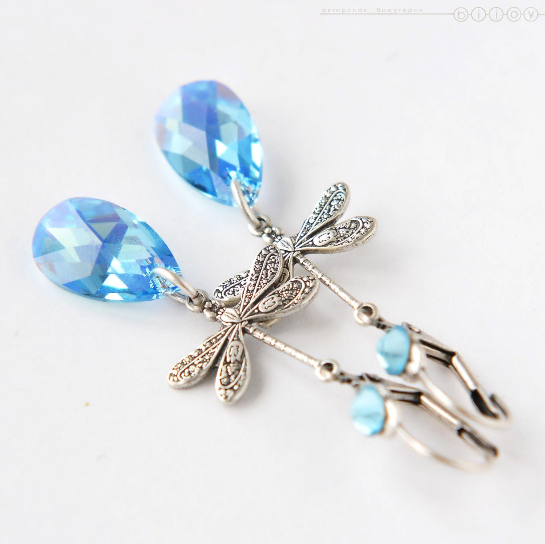 Длинные серьги с кристаллами Сваровски «Голубые стрекозы». Купить длинные  серьги с кристаллами Сваровски ... ab3785610d9