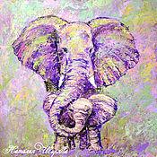 Картины и панно handmade. Livemaster - original item The picture with the elephants