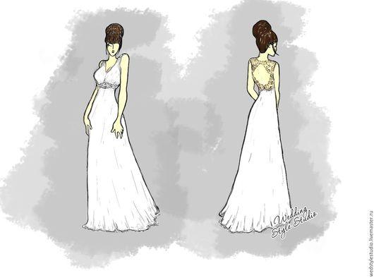 Одежда и аксессуары ручной работы. Ярмарка Мастеров - ручная работа. Купить Свадебное платье из шифона с открытой спиной, расшитое кристаллами. Handmade.