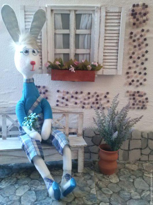 Игрушки животные, ручной работы. Ярмарка Мастеров - ручная работа. Купить Заяц настоящий ботаник. Handmade. Голубой, флис, мех