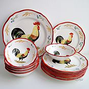 Посуда handmade. Livemaster - original item Painted porcelain table Set Rustic rooster. Handmade.