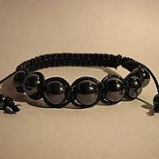 Браслет плетеный ручной работы. Ярмарка Мастеров - ручная работа Плетеный браслет Шамбала с гематитом. Handmade.