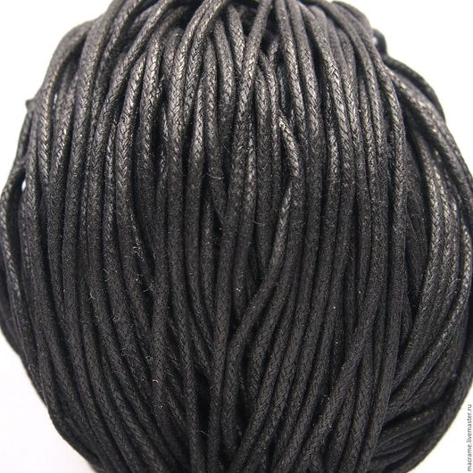 Для украшений ручной работы. Ярмарка Мастеров - ручная работа. Купить Шнур вощеный 2 мм  хлопковый черный. Handmade.