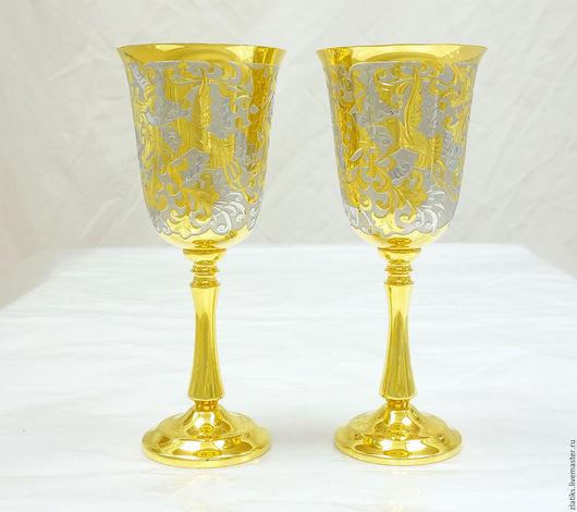 """Бокалы, стаканы ручной работы. Ярмарка Мастеров - ручная работа. Купить Фужеры """"Калибри"""". Handmade. Подарок, подарок на любой случай"""