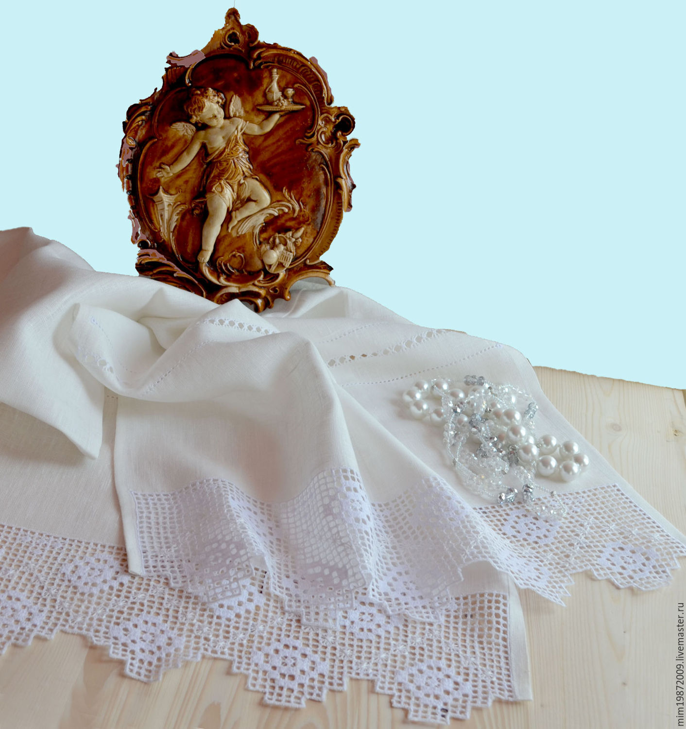 White linen towel. Track on the table. Strojeva embroidery – shop ...