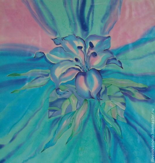 """Шали, палантины ручной работы. Ярмарка Мастеров - ручная работа. Купить Платок """" Цветок"""". Handmade. Голубой, аксессуар, приятный"""