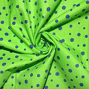 Материалы для творчества ручной работы. Ярмарка Мастеров - ручная работа Американский хлопок-фланель  ЯРКИЙ ГОРОШЕК на зеленом фоне. Handmade.