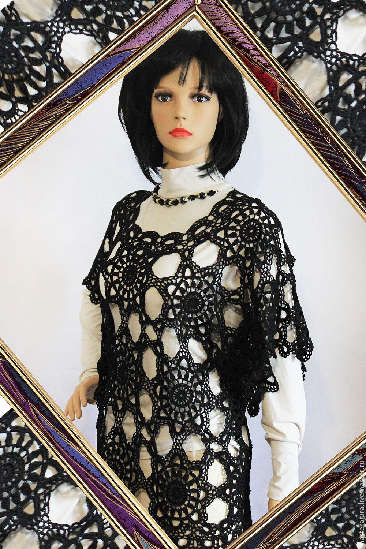 Crochet tunica,`Summer night` in black, openwork, cotton 100%, handmade.