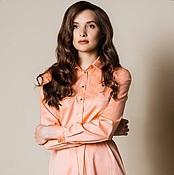 Одежда ручной работы. Ярмарка Мастеров - ручная работа Платье-рубашка персиковое. Handmade.