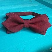 Аксессуары handmade. Livemaster - original item Burgundy tie with corners Mod / groom`s bowtie, Marsala. Handmade.