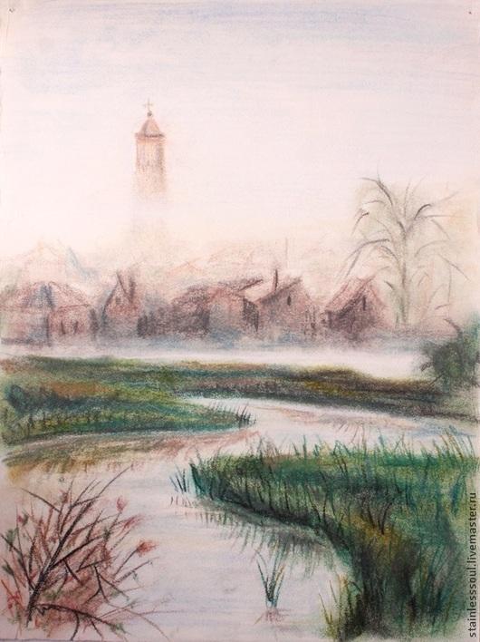 Пейзаж ручной работы. Ярмарка Мастеров - ручная работа. Купить Картина Утренний туман пастель 23х31. Handmade. Бежевый, река