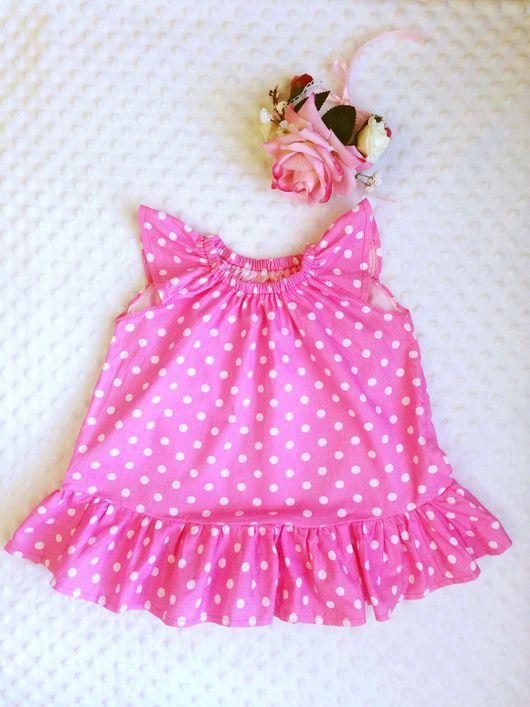 Одежда для девочек, ручной работы. Ярмарка Мастеров - ручная работа. Купить Платье для девочки в горошек. Handmade. Розовый, в горох, горох