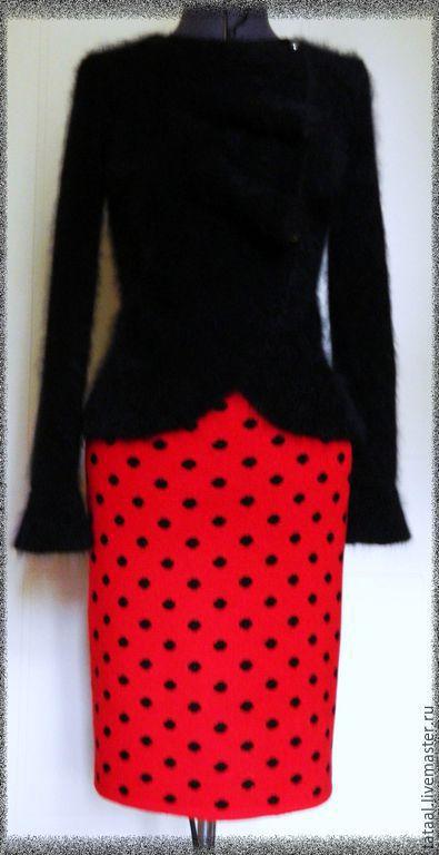 Юбки ручной работы. Ярмарка Мастеров - ручная работа. Купить Жаккардовая юбка в горошек. Handmade. Ярко-красный, юбка вязаная
