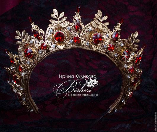 """Диадемы, обручи ручной работы. Ярмарка Мастеров - ручная работа. Купить Корона """"Маркиза"""". Handmade. Золотой, диадема, красные ками"""