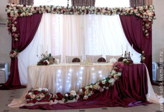 Свадебные аксессуары ручной работы. Ярмарка Мастеров - ручная работа. Купить Оформление свадьбы в винном цвете (марсала) с пионами. Handmade.