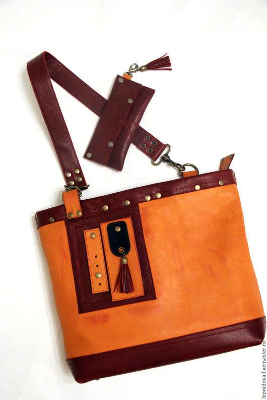 Женские сумки ручной работы. Ярмарка Мастеров - ручная работа. Купить Сумка из кожи. Handmade. Рыжий, сумка для девушки