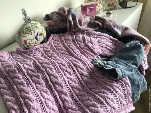 Кофты и свитера ручной работы. Ярмарка Мастеров - ручная работа. Купить Женский вязаный сиреневый свитер КАМЕЛИЯ хлопок. Handmade.