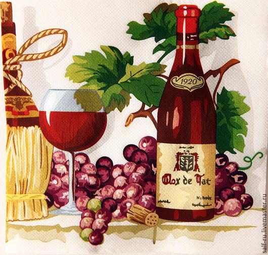 Декупаж и роспись ручной работы. Ярмарка Мастеров - ручная работа. Купить Салфетка Натюрморт с виноградным вином и гроздьями. Handmade. Комбинированный