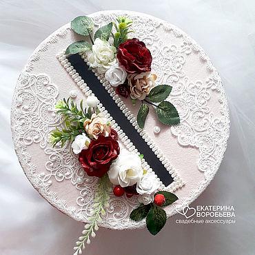 Свадебный салон ручной работы. Ярмарка Мастеров - ручная работа Круглый сундук для подарков марсала. Handmade.