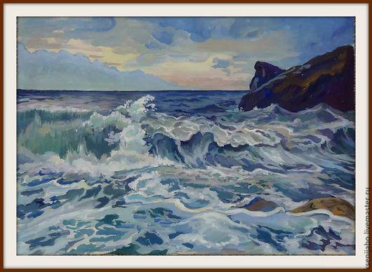 """Пейзаж ручной работы. Ярмарка Мастеров - ручная работа. Купить Картина ,,Бурное море """"  бумага , гуашь , темпера. Handmade."""
