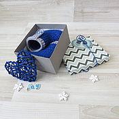 Работы для детей, ручной работы. Ярмарка Мастеров - ручная работа пинетки в подарок вязаные угги  для мальчика пинетки сапожки, синий. Handmade.