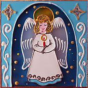 """Подарки к праздникам ручной работы. Ярмарка Мастеров - ручная работа Магнит """"Ангел со свечой"""". Handmade."""