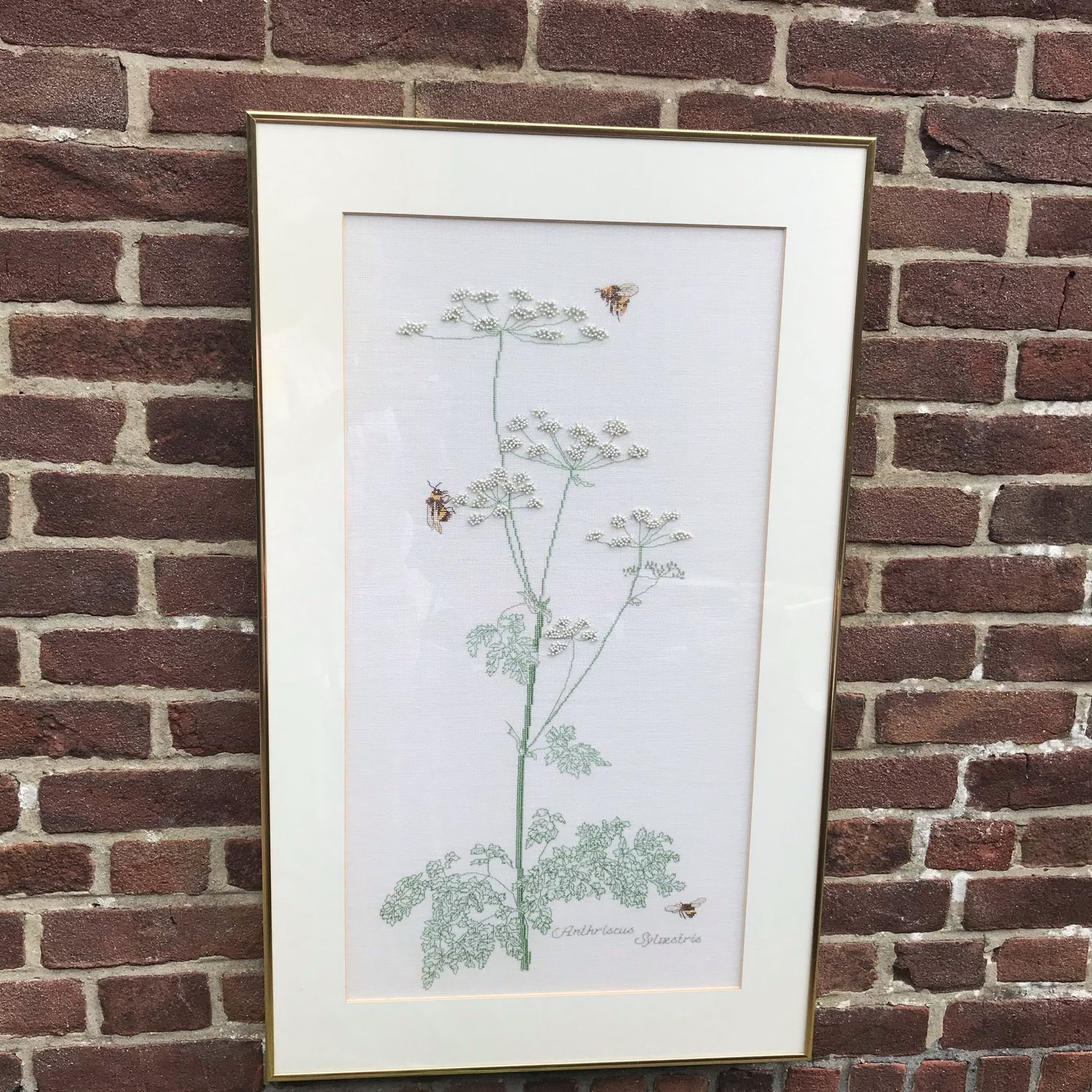 Embroidered picture 'Forest carrot', handmade, Holland, Vintage interior, Arnhem,  Фото №1