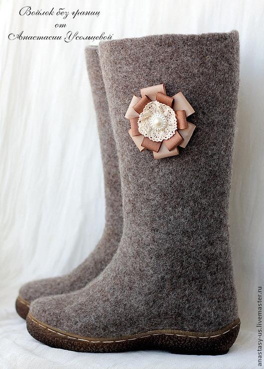 Обувь ручной работы. Ярмарка Мастеров - ручная работа. Купить Сапожки валяные. Handmade. Коричневый, валенки ручной работы
