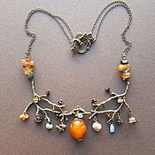 Украшения handmade. Livemaster - original item Necklace with amber and tourmaline art Nouveau. Mysterious forest. Handmade.