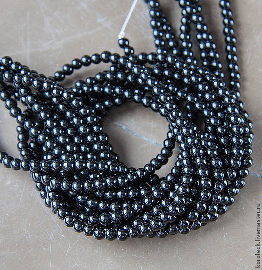 Для украшений ручной работы. Ярмарка Мастеров - ручная работа. Купить Оникс черный, нити из бусин-шариков 4,5 мм. Handmade.