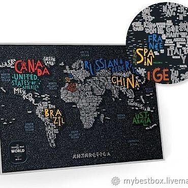 Diseño y publicidad manualidades. Livemaster - hecho a mano Mapa de Scratch Travel map Letters World. Handmade.
