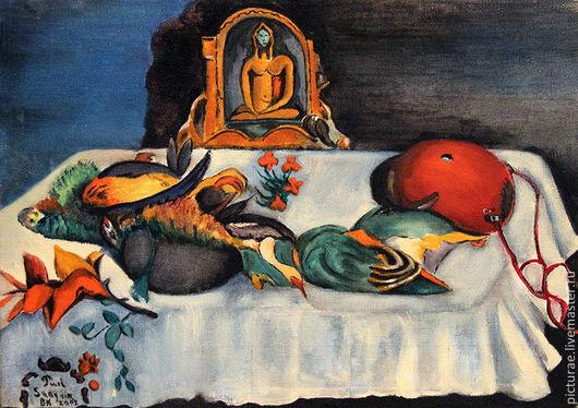 Натюрморт ручной работы. Ярмарка Мастеров - ручная работа. Купить Картина холст масло, по мотивам картины Гогена Натюрморт с Попугаями. Handmade.