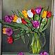 Картины цветов ручной работы. Ярмарка Мастеров - ручная работа. Купить тюльпаны. Handmade. Тюльпаны, вышивка, авторская ручная работа