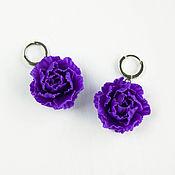 Украшения handmade. Livemaster - original item Peony earrings, purple, polymer clay. Handmade.