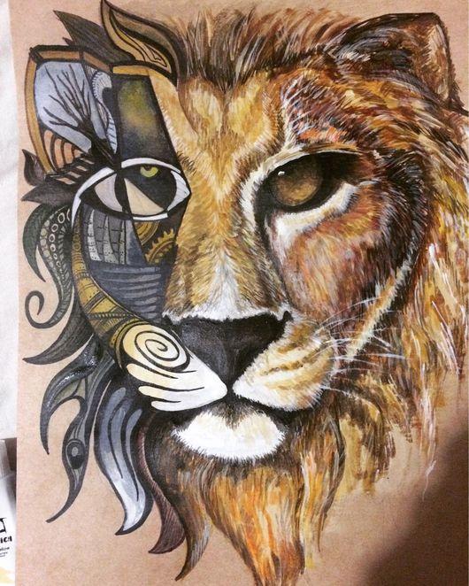 """Животные ручной работы. Ярмарка Мастеров - ручная работа. Купить Картина стилизованная """"Лев"""". Handmade. Лев, стилизация, акриловые краски"""