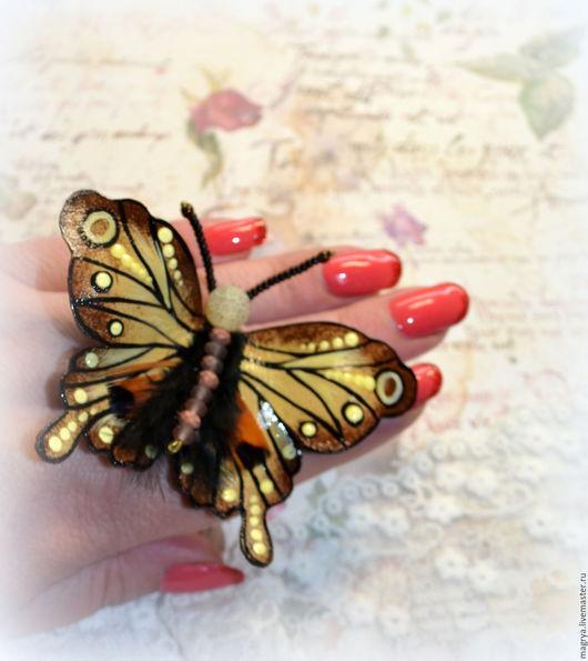 Броши ручной работы. Ярмарка Мастеров - ручная работа. Купить Брошь кожа Бабочка Ванильная Шоколадница. Handmade. Коричневый, бабочки