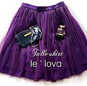 Одежда ручной работы. Ярмарка Мастеров - ручная работа Легкая юбочка из еврофатина и шифона фиолетового цвета. Handmade.