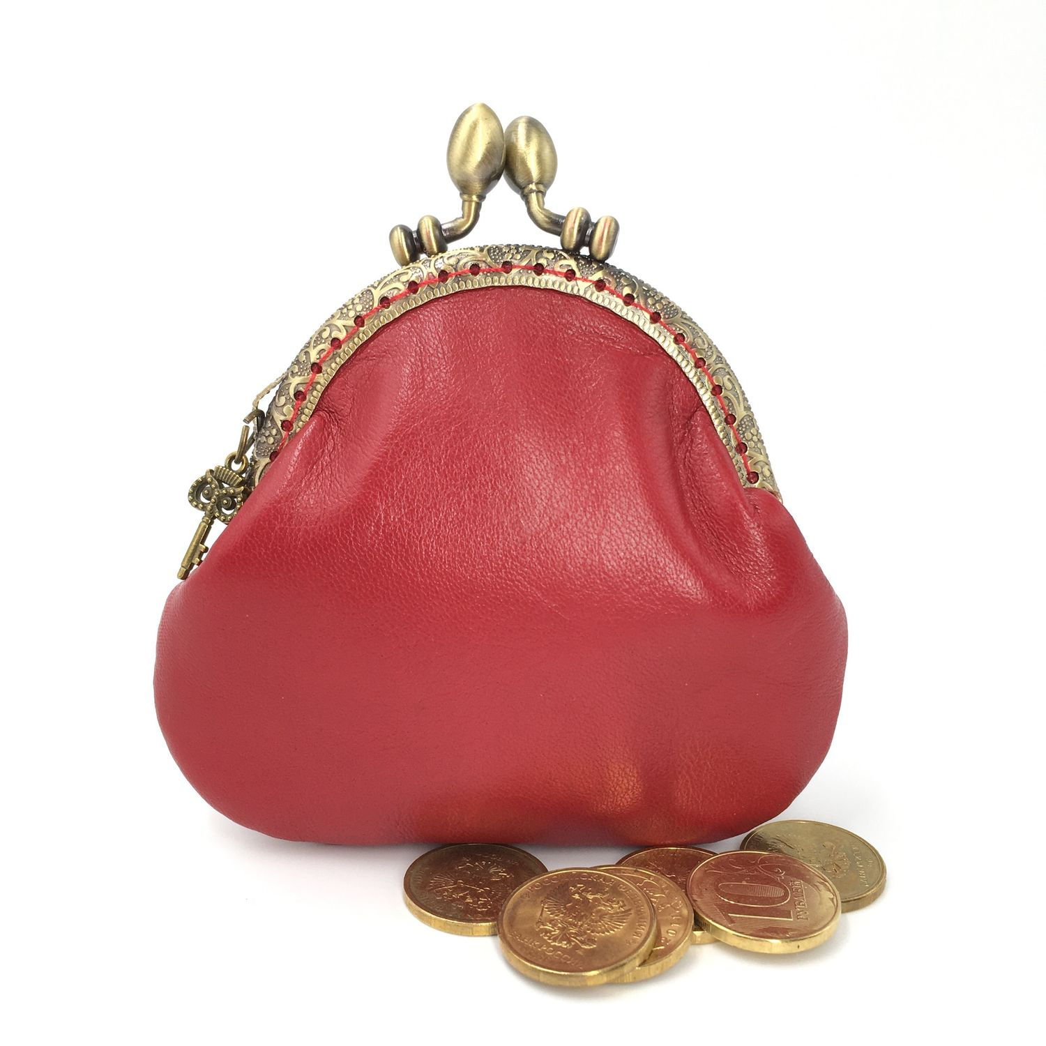 Coin purse leather red on the clasp, Coin boxes, Moscow,  Фото №1
