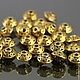 Бусины металлические литые биконической формы Юла в тибетском стиле с покрытием античное золото для сборки украшений комплектами по 10 бусин